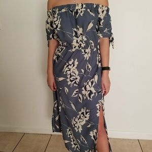 Off the Shoulder Double Slit Dress